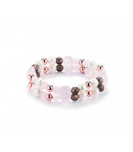Náramok z ružového kremenca a riečnymi perlami