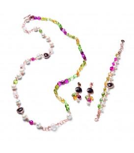 Náhrdelník DANIELLE ružový s riečnou perlou, viacfarebnými kameňmi a granátovým kryštálom 98cm