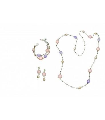 Ametrínový náramok s ružovými a fialovými kryštálmi