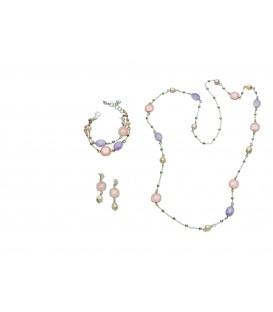 Náušnice s ružovým kryštálom a riečnou perlou