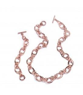 Bronzový náramok s ružovo-zlatým povrchom 23cm