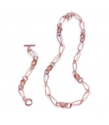 Bronzový náhrdelník s ružovo-zlatým povrchom 74cm