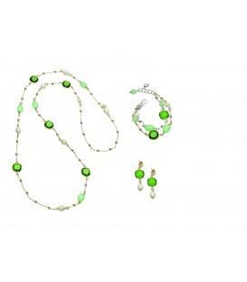 Zelený kryštálový náhrdelník PETITE POIS s nefritom a riečnou perlou