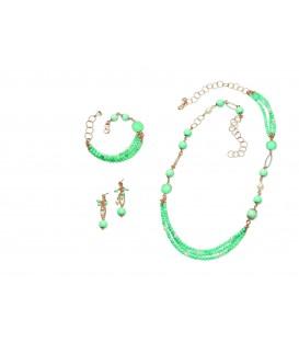 Farebný nefritový náhrdelník MYRTILLE s tyrkysovým kryštálom a riečnou perlou 90cm