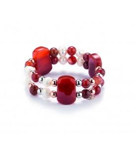 Náramok s karneolovými a riečnymi perlami
