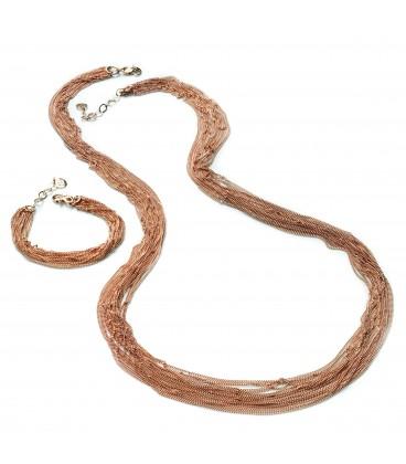 Bronzový náhrdelník s ružovo-zlatým povrchom 90cm