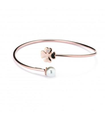 Ružovo-zlatý náramok zakonečený perlou a štvorlístkom so zirkónom