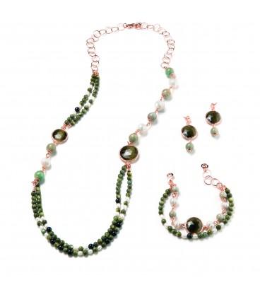 Amazonitový náhrdelník CLAIRE madagaskar - kryštál s riečnou a zelenou perlou 84cm