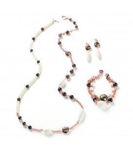 Náramok FABIENNE s dymovým kryštálom a krémovou bielou perlou