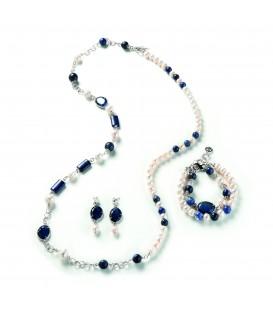 Náhrdelník SYLVIE s riečnou perlou, sodalitom a kryštálmi 94cm