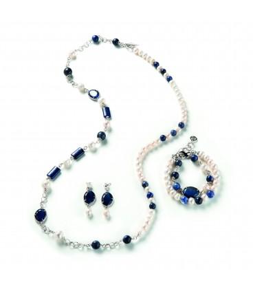 Náušnice SYLVIE s riečnou perlou a nočmými modrými kryštálmi