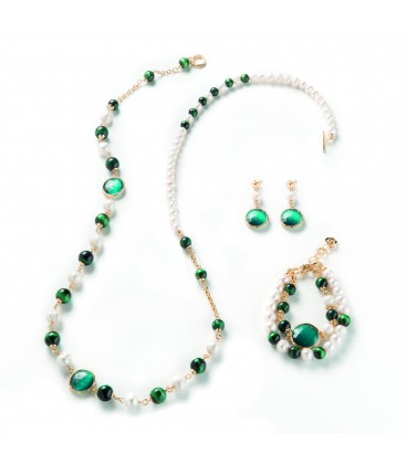 Náhrdelník SOPHIE smaragdové tigrie oko s riečnou a zelenou perlou 94cm