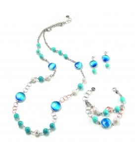 Náhrdelník DENISE modrý kryštál s angelitovou a riečnou perlou 94cm