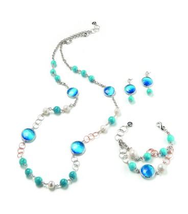 Náušnice DENISE modrý kryštál s angelitovou perlou