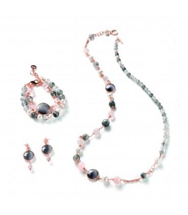 Náhrdelník AGNES šedý krémový a ružový kremeň a riečna perla s šedým kryštálom 90cm