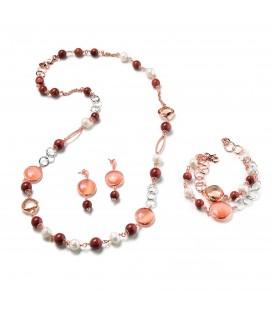 Náhrdelník CASSANDRE riečna perla s kryštálom - jemne oranžovým a vo farbe šampanského 84cm