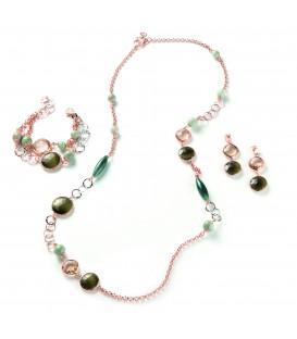 Náramok GABRIELLE zelený kameň s kryštálmi farby šampanského a Amazonského pralesa