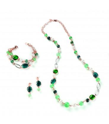 Náhrdelník CAROLINE zelené kamene a kryštály s riečnou perlou 84cm