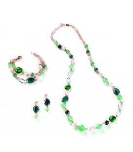 Náušnice CAROLINE zelené kamene a kryštály s riečnou perlou