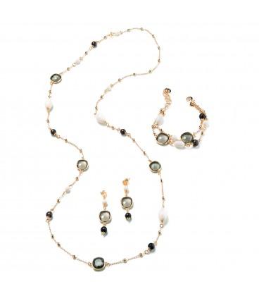 Náhrdelník MARIANNE biely kremeň, čierne korálky a tmavý kryštál 106cm