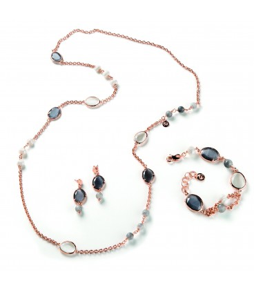 Náhrdelník LAURE šedý kremeň s riečnou perlou a tmavým a bielym kryštálom 100cm