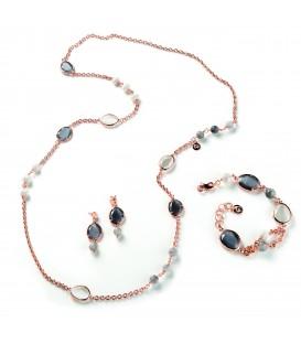 Náramok LLAURE šedý kremeň s riečnou perlou a tmavým a bielym kryštálom
